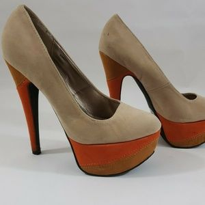 Charlotte Russe Tan Orange Platform Pump  Suede